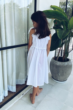 La Confection Kids - Remi - Kids Shirring Dress in White