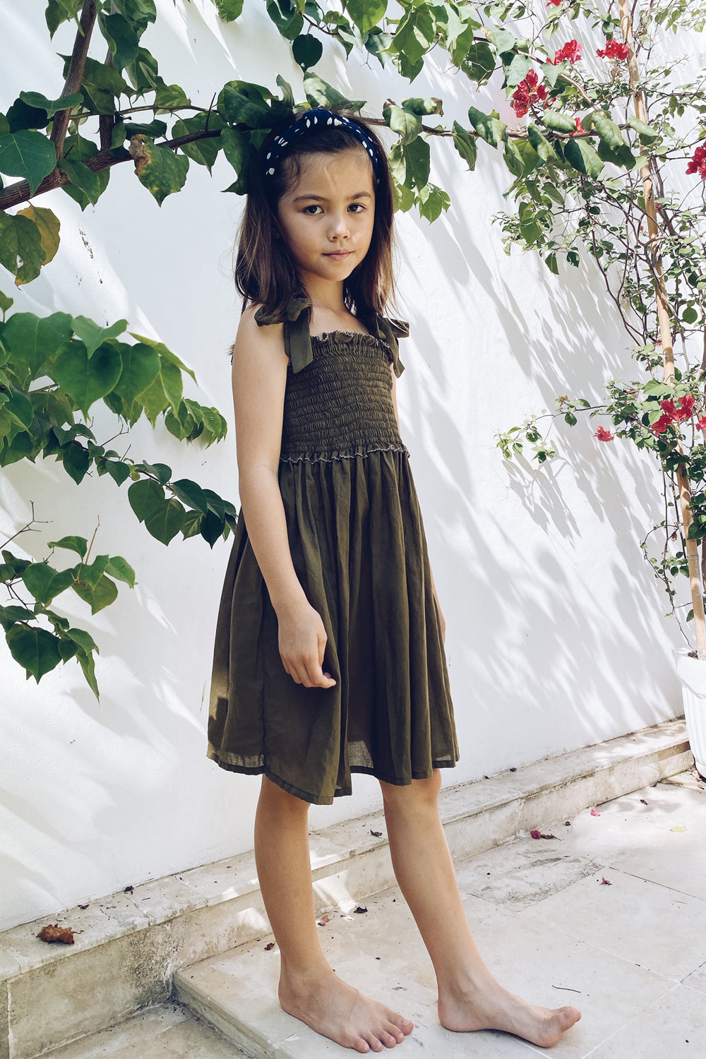 La Confection Kids - Remi - Kids Shirring Dress in Khaki