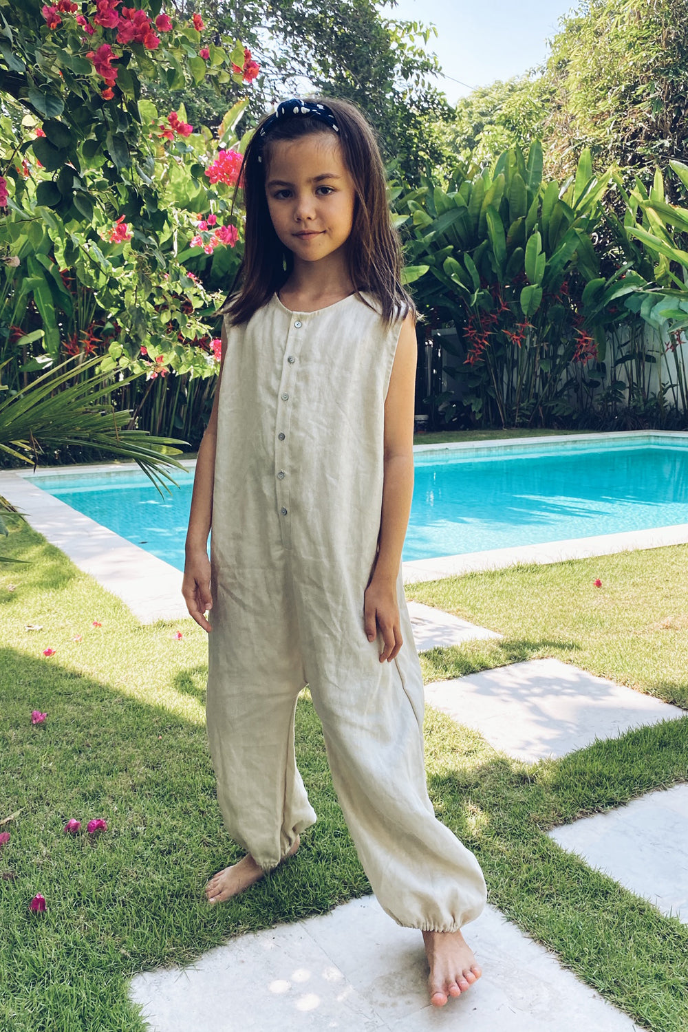 La Confection Kids - River - Kids Unisex Jumpsuit in Linen Bircher