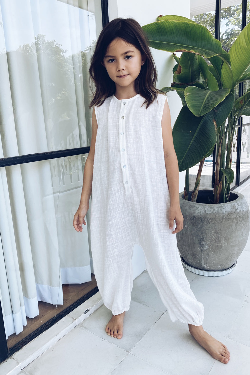 La Confection Kids - River - Kids Unisex Jumpsuit in White