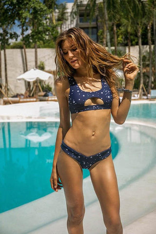 Storm Swimwear - Riviera - V Bikini Bottom in Super Star Print In navy Blue