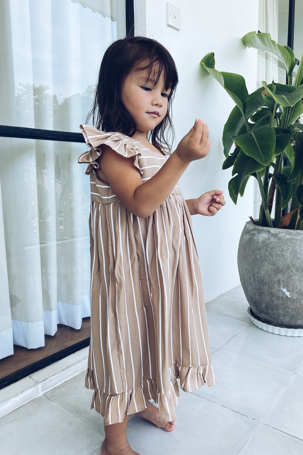 La Confection Kids - Skyler - Kids Dress in Stripe Tan and White