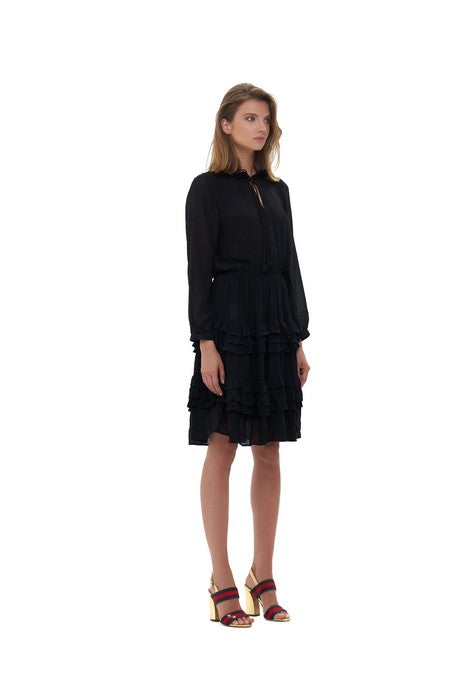 La Confection - Ames - Long sleeve ruffle skirt Dress In Black