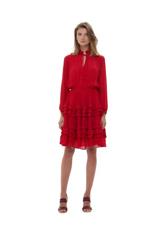 La Confection - Ames - Long sleeve ruffle skirt Dress In Chilli Pepper Red