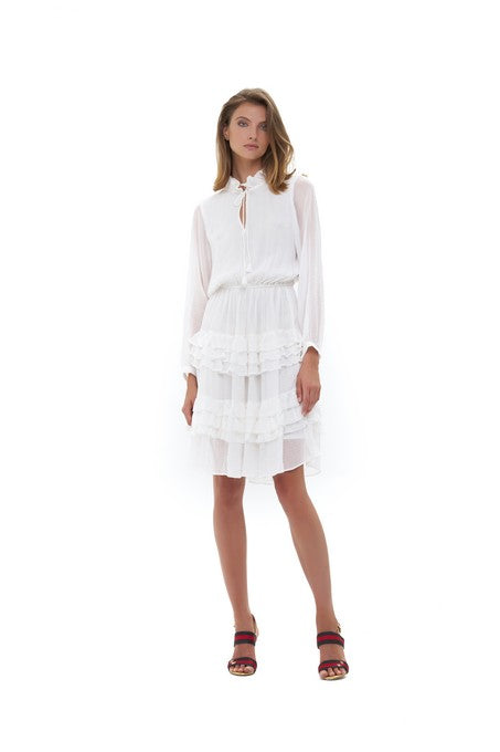 La Confection - Ames - Long sleeve ruffle skirt Dress In White