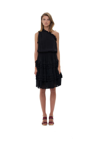 La Confection - Ames - One shoulder ruffle skirt dress in Black
