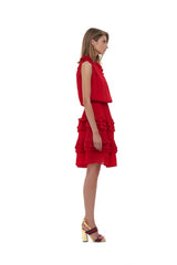 La Confection - Ames - One shoulder ruffle skirt dress in Red