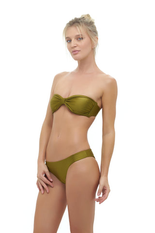 Storm Swimwear - Amalfi - Bandeu centre ruched bikini top in Champagne