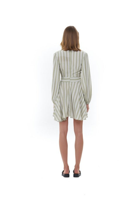 La Confection - Jacinthe - Long sleeve Dress In Nolita Sage Green and White Stripe