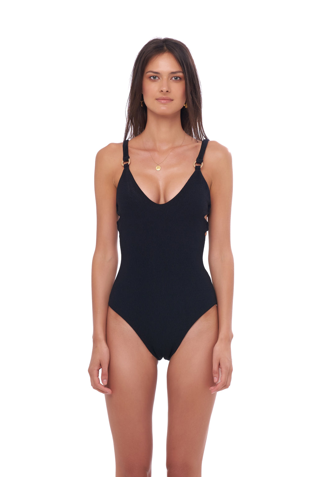Storm Swimwear - Sicily - One Piece Swimsuit in Seascape Black Textured