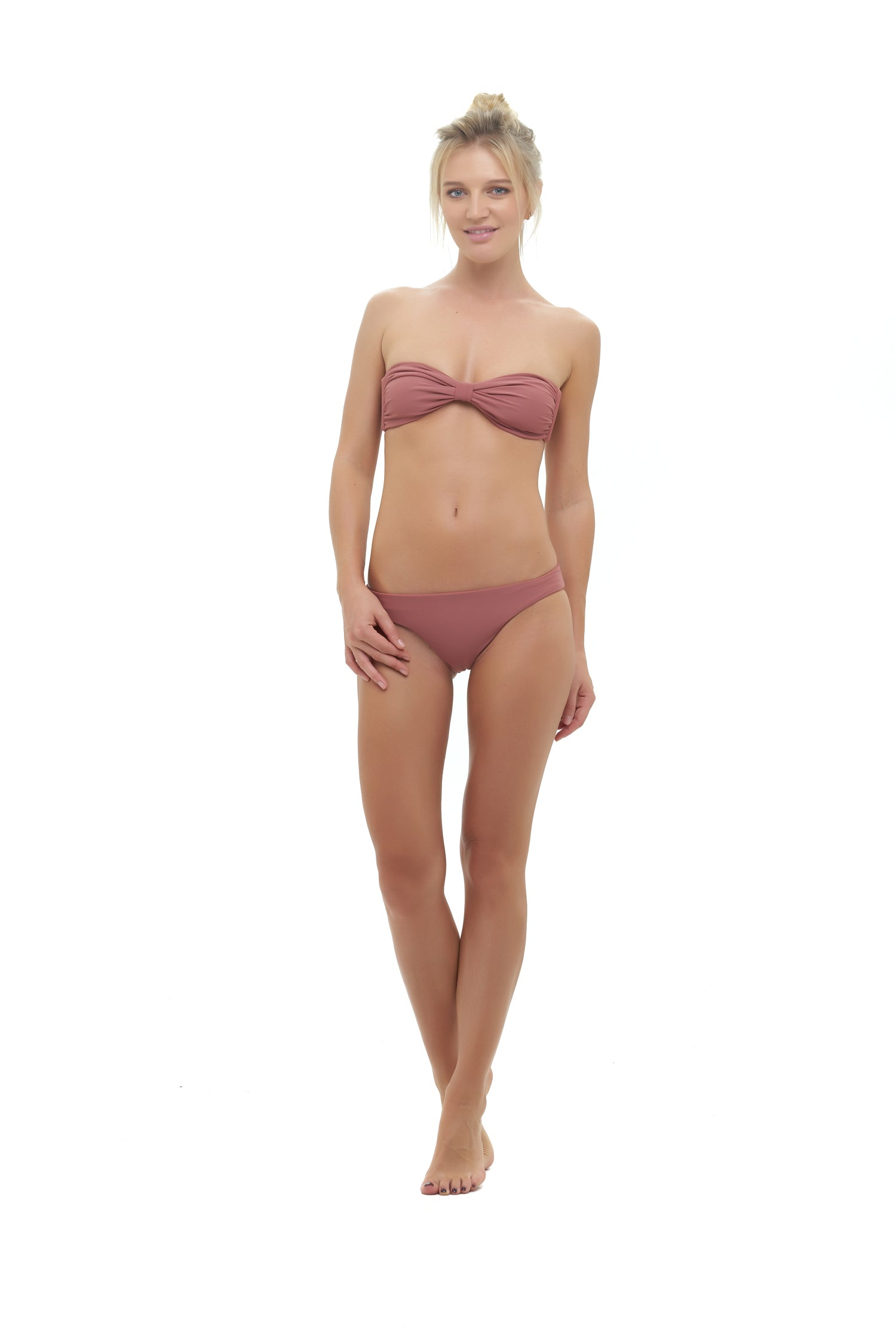 Storm Swimwear - Amalfi - Bandeu centre ruched bikini top in Canyon Rose
