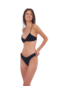 Storm Swimwear - Bora Bora - Twist front padded top in Seascape Black Textured