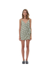 La Confection - Aspen - Micro Mini Dress in Marais Polka Dot Sage Green and White