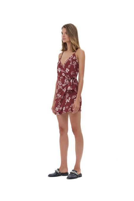 La Confection - Aspen - Micro Mini Dress in Courchevel Floral Marsala and Rose Quartz