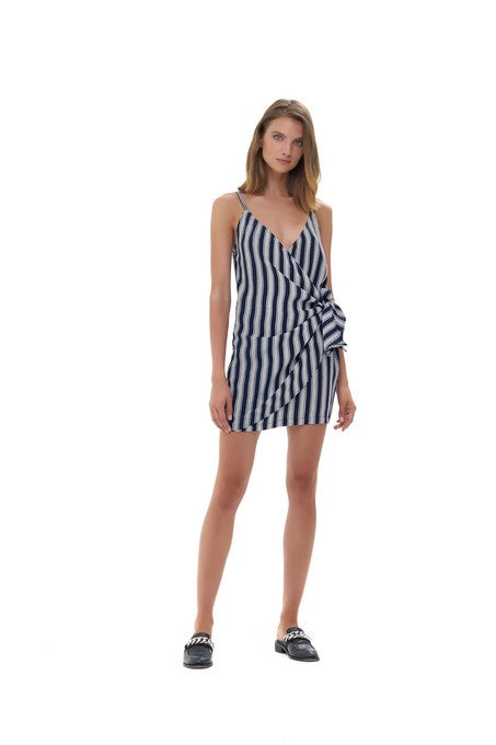 La Confection - Aspen - Micro Mini Dress in Nolita Navy and White Stripe