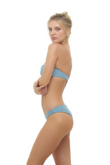 Storm Swimwear - Amalfi - Bandeu centre ruched bikini top in Dusk Blue