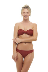 Storm Swimwear - Amalfi - Bandeu centre ruched bikini top in Desert Sand