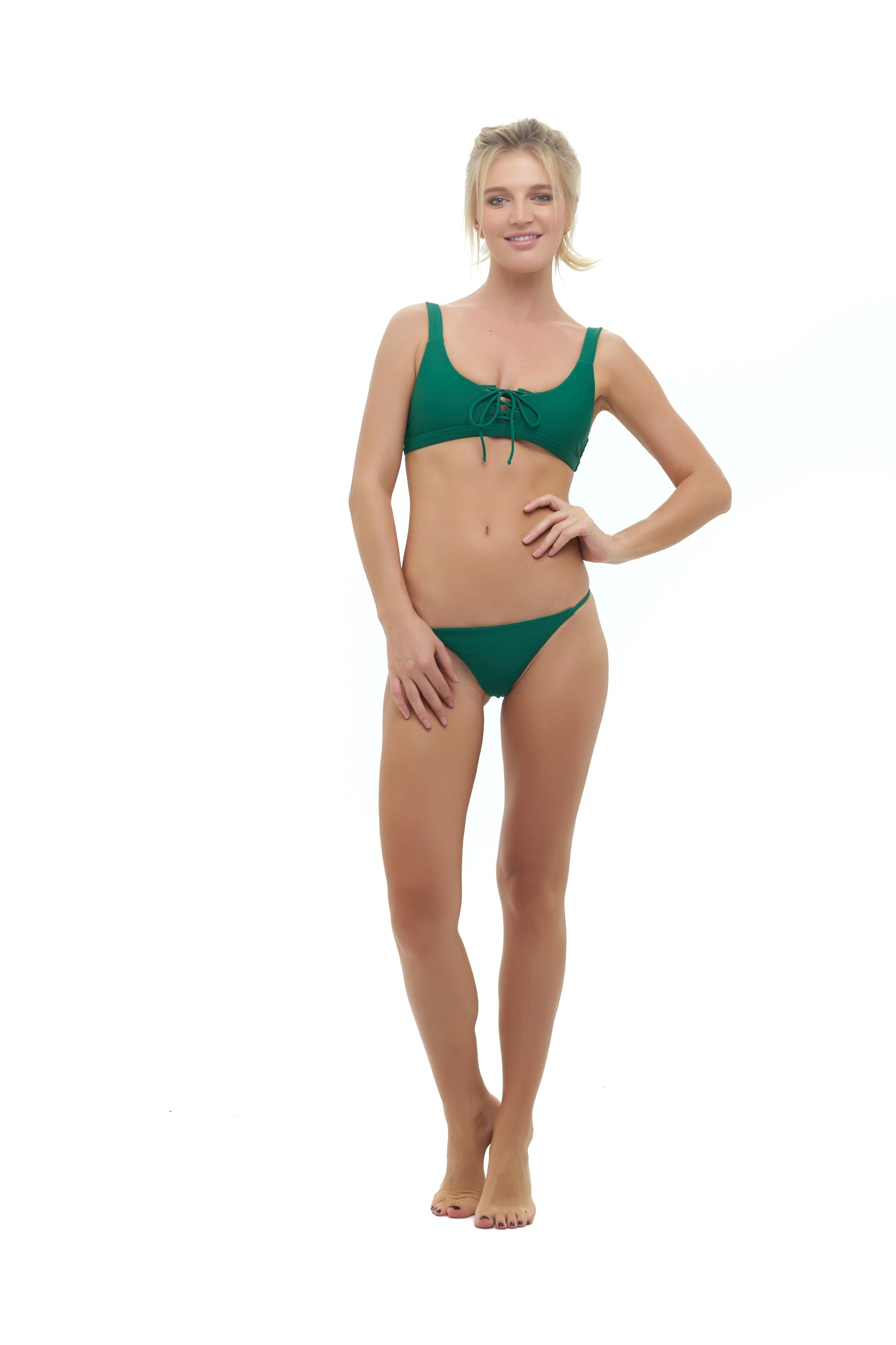 Storm Swimwear - Corsica - Lace Up bikini top in Palm Green