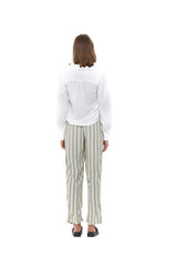 La Confection - Iva - Pant in Nolita Sage Green and White Stripe