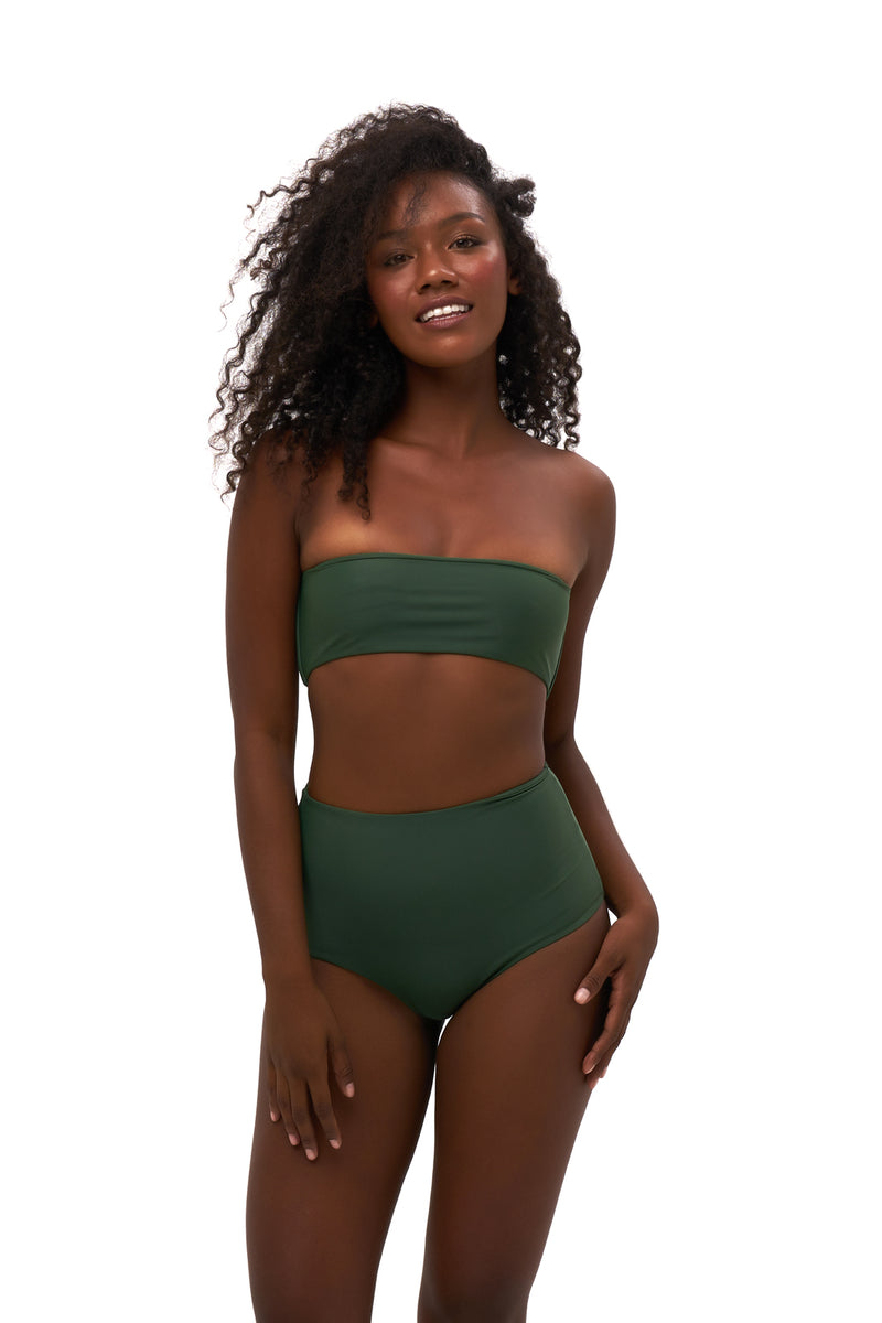 Storm Swimwear - Ravello - Plain Bandeu Bikini Top in Plain Bamboo