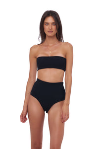 Storm Swimwear - Ravello - Plain Bandeu Bikini Top in Seascape Black Textured