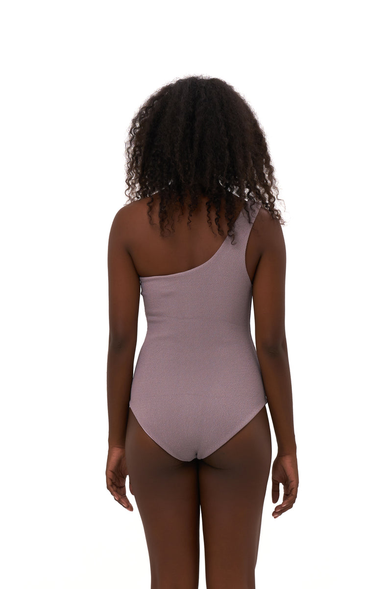 Storm Swimwear - Cinque Terre - One shoulder One Piece in Seascape Jacaranda Textured