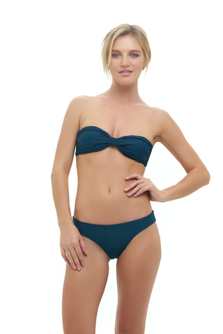 Storm Swimwear - Amalfi - Bandeu centre ruched bikini top in Jungle Green