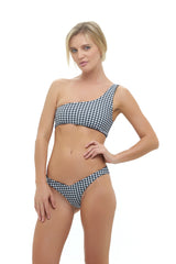 Storm Swimwear - Cinque Terre - One shoulder bikini top in Gingham black and white check