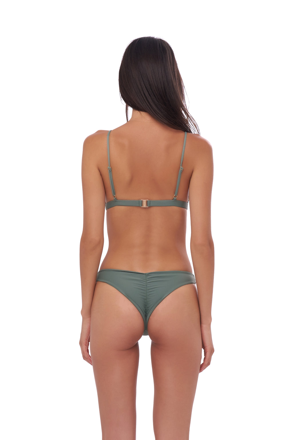 Storm Swimwear - Aruba - Centre Back Ruche Bikini Bottom in Eucalyptus