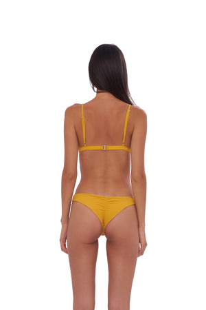 Storm Swimwear - Aruba - Centre Back Ruche Bikini Bottom in Wattle Honeycomb