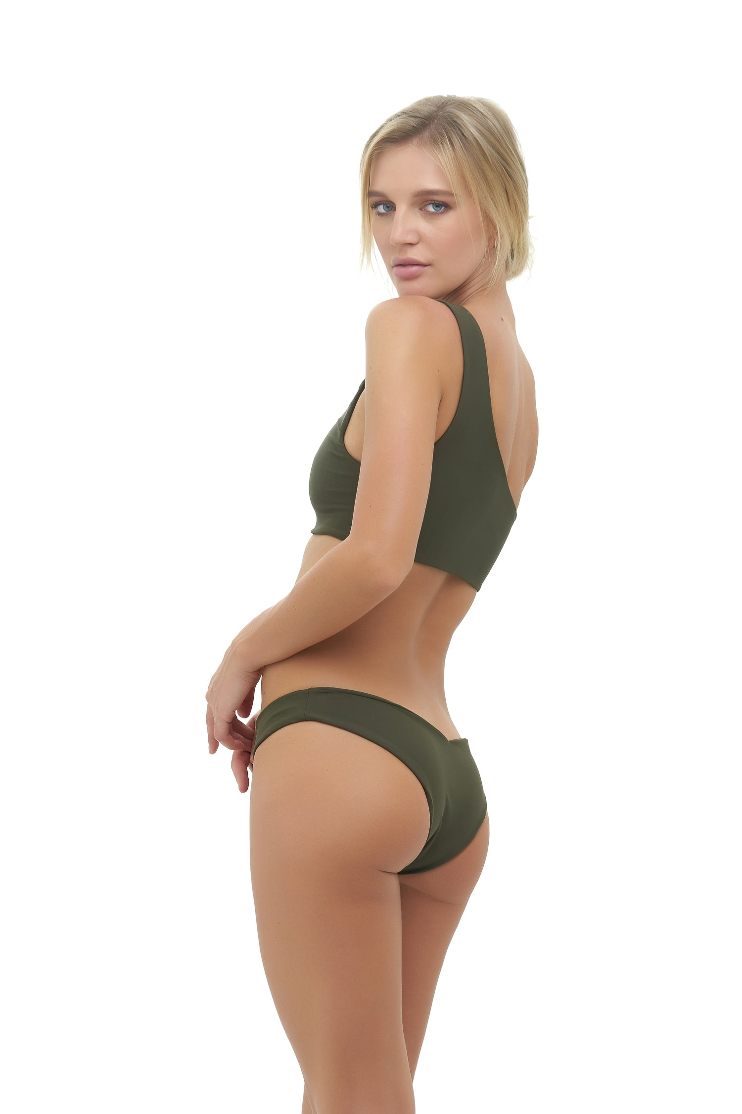Storm Swimwear - Cinque Terre - One shoulder bikini top in Military Green