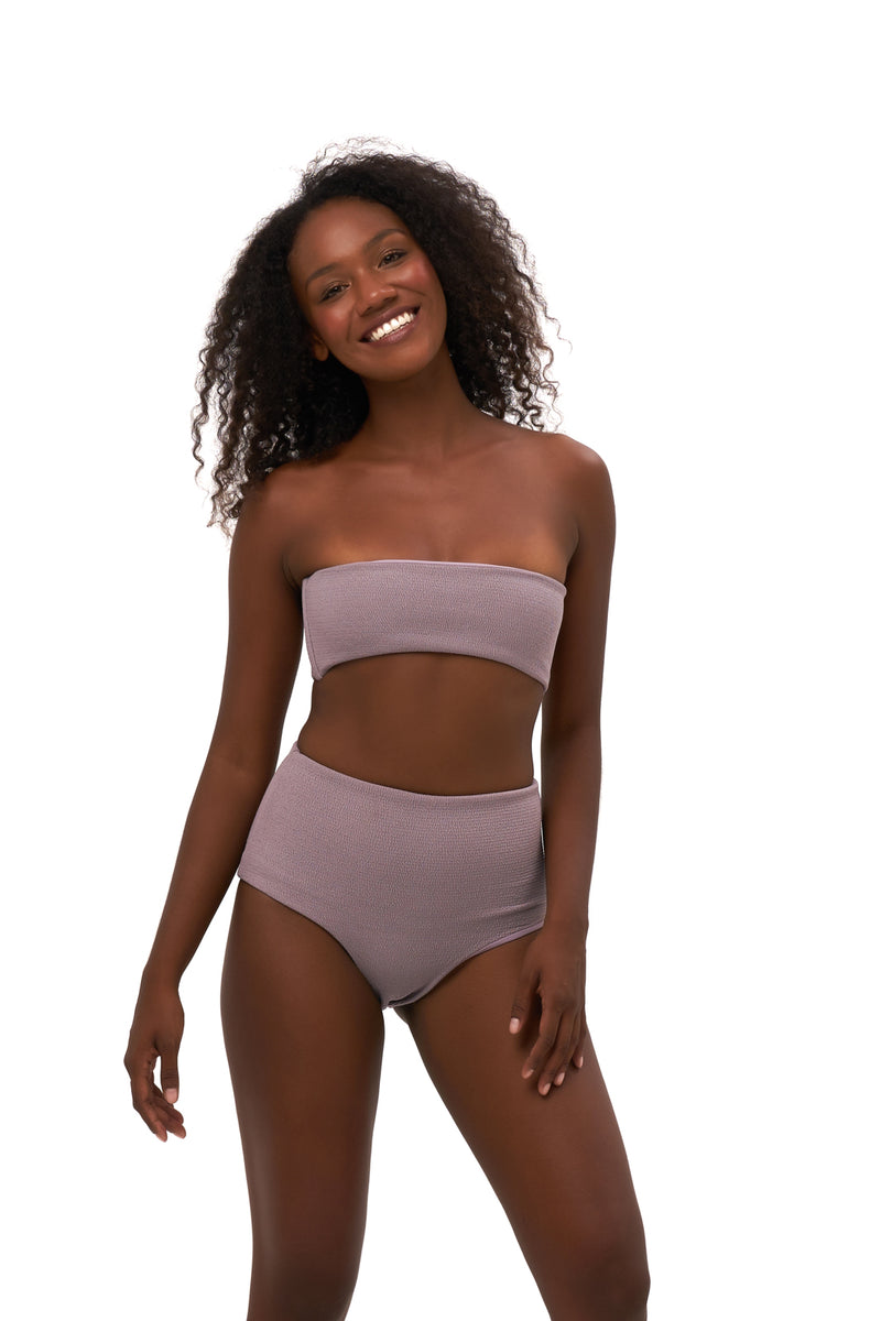 Storm Swimwear - Ravello - Plain Bandeu Bikini Top in Seascape Jacaranda Textured