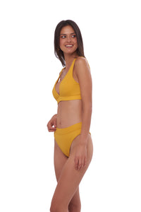 Storm Swimwear - Super Paradise - Super Style High waist brief in Wattle Honeycomb