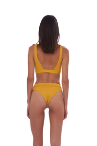 Storm Swimwear - Crete - Coverage top in Wattle Honeycomb