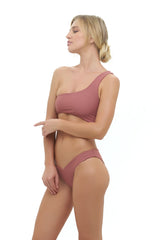 Storm Swimwear - Cinque Terre - One shoulder bikini top in Canyon Rose