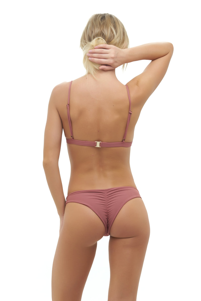 Storm Swimwear - Aruba - Centre Back Ruche Bikini Bottom in Canyon Rose