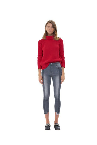 La Confection - Aelyne - Roll Neck Knit Sweater in Chilli Pepper Red