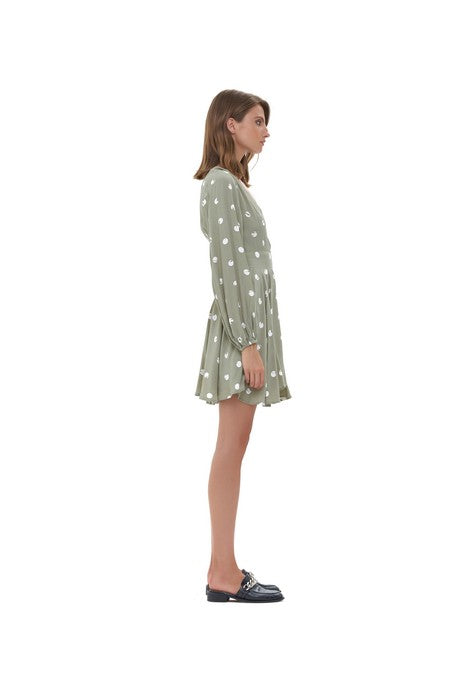 La Confection - Jacinthe - Long sleeve Dress In Marais Polkadot Sage Green and White
