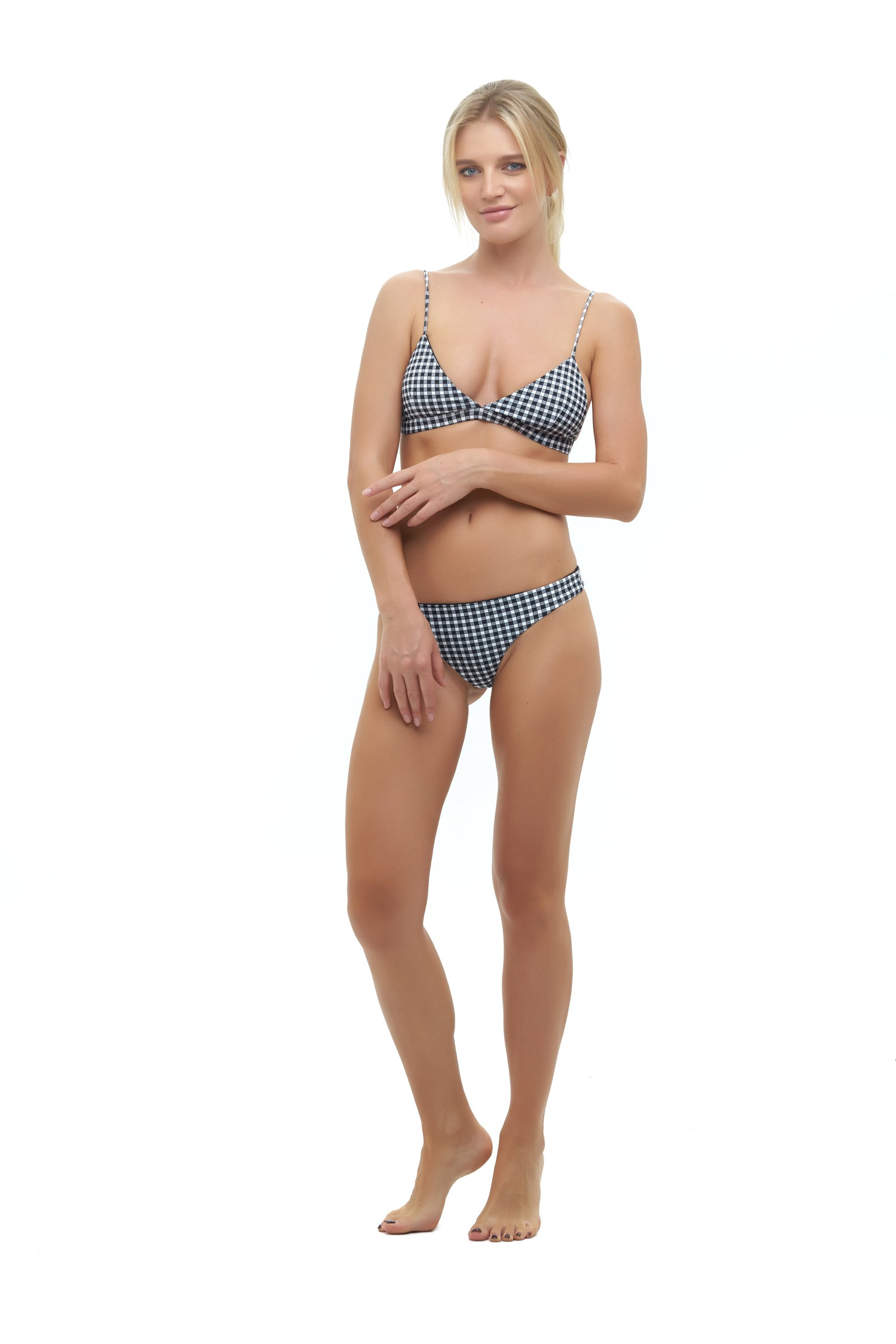 Storm Swimwear - Mallorca - Triangle Bikini Top with Paded In Gingham Black and White Check
