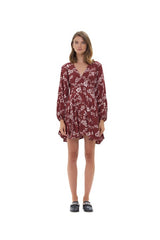 La Confection - Jacinthe - Long sleeve Dress In Courchevel Floral Marsala and Rose Quartz