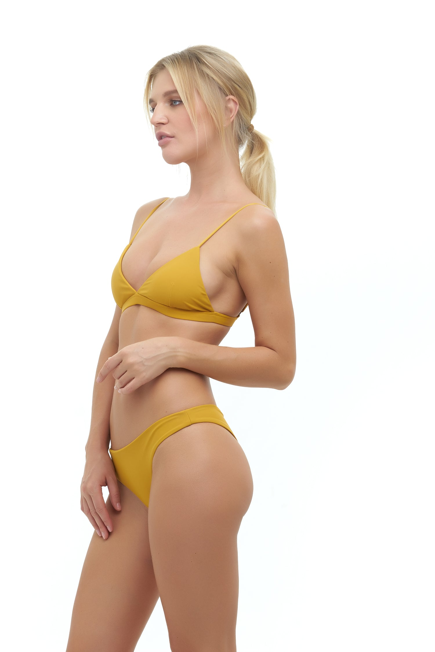 Storm Swimwear - Aruba - Centre Back Ruche Bikini Bottom in Mustard