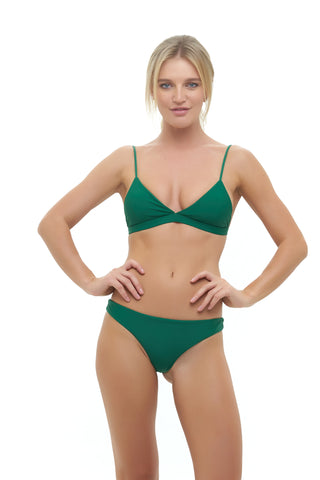 Storm Swimwear - Aruba - Centre Back Ruche Bikini Bottom in Palm Green