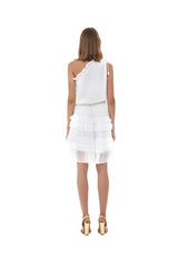 La Confection - Ames - One shoulder ruffle skirt dress in White