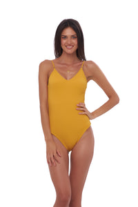 Storm Swimwear - Portofino - One Piece Swimsuit in Wattle Honeycomb
