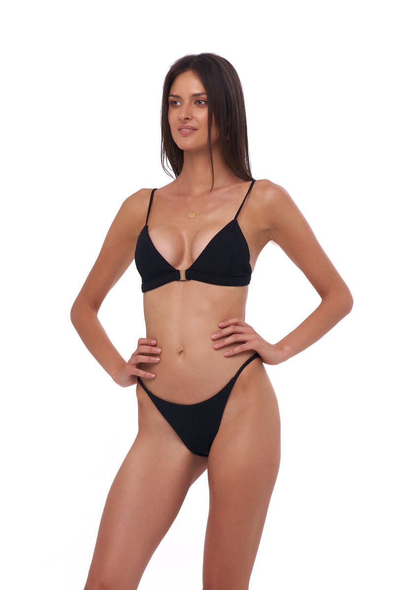 Storm Swimwear - Biarritz - Triangle Bikini Top with removable padding in Seascape Black Textured