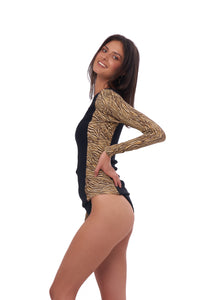 Storm Swimwear - Echo Beach - Surf top in Combination Tiger Print with Seascape Black Textured