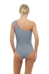 Storm Swimwear - Cinque Terre - One shoulder One Piece in Gingham Black and White Check