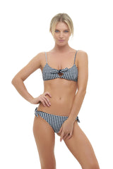 Storm Swimwear - Barbados - Bow tie front bikini top in Gingham Black and white Check