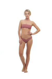Storm Swimwear - Ravello - Plain Bandeu Bikini Top in Canyon Rose