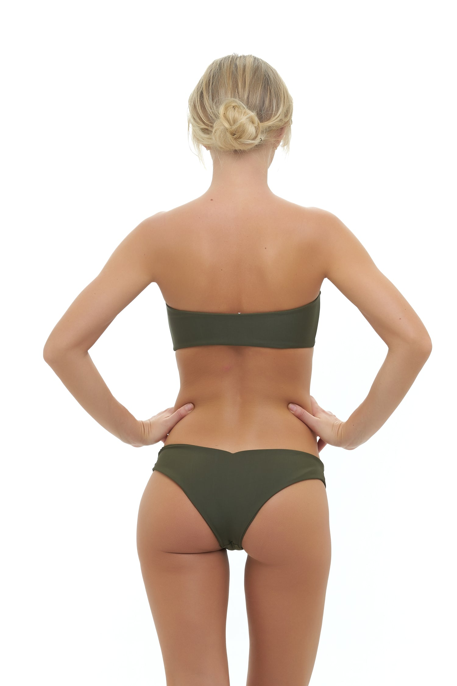 Storm Swimwear - Ravello - Plain Bandeu Bikini Top in Military Green